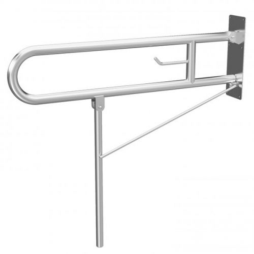 Eliseo Ricci Drop Down Mobility Support Rail with Leg - Satin (19430)