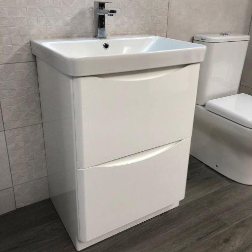 Happi 600mm Floorstanding Vanity Unit & Basin - Gloss White (15598)