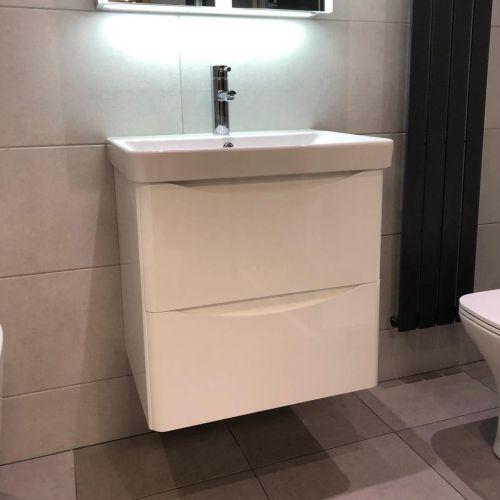 Happi 600mm Wall Hung Vanity Unit & Basin - Gloss White (15600)