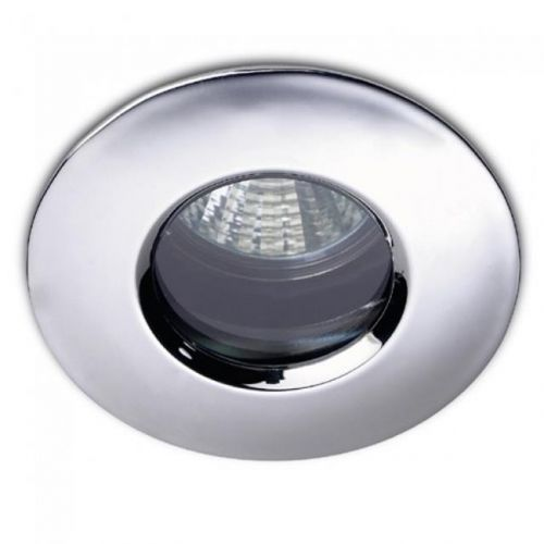 LED Satin Chrome Shower Ceiling Downlighter & Cool White Bulb - 12268
