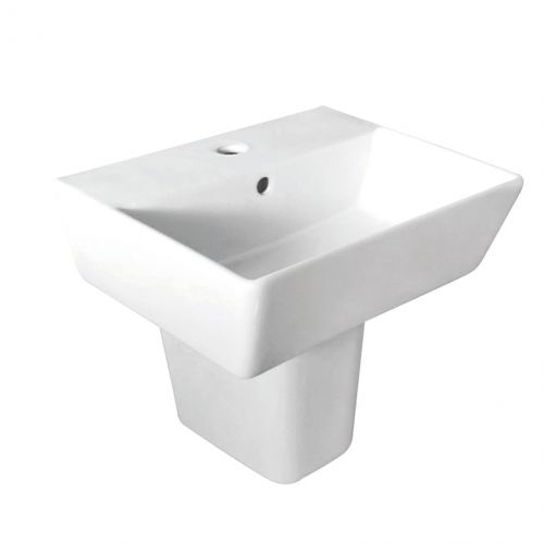 Linea Square 1 Tap Hole Basin & Semi Pedestal - 550mm (19516)