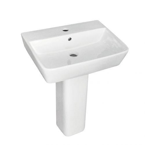 Enzo2 Square 1 Tap Hole Basin & Full Pedestal - 550mm (19519)