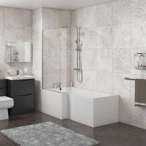 1700mm L-Shape Shower Bath, Front Panel & Screen - Left Hand (12710)