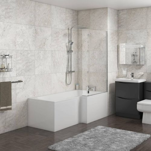 1700mm L-Shape Shower Bath, Front Panel & Screen - Right Hand (12712)