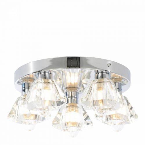 LumenAir 5 Glass Spotlight Flush Bathroom Ceiling Light with Extractor Fan - 14572