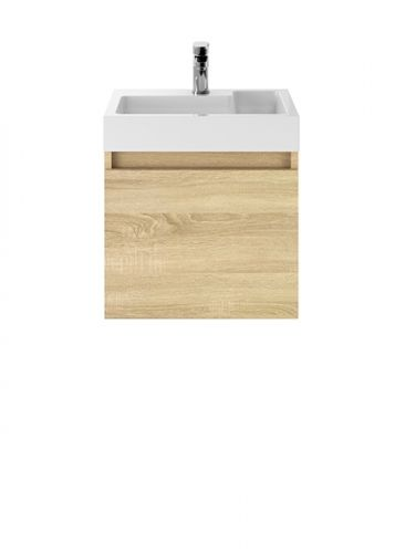 Turin 500mm Cloakroom Wall Mounted Vanity Unit & Basin - Natural Oak (18905)