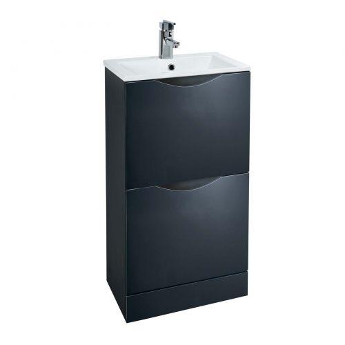 Phoenix Malmo 40 Floorstanding Vanity Unit & Basin - Graphite Gloss (12737)