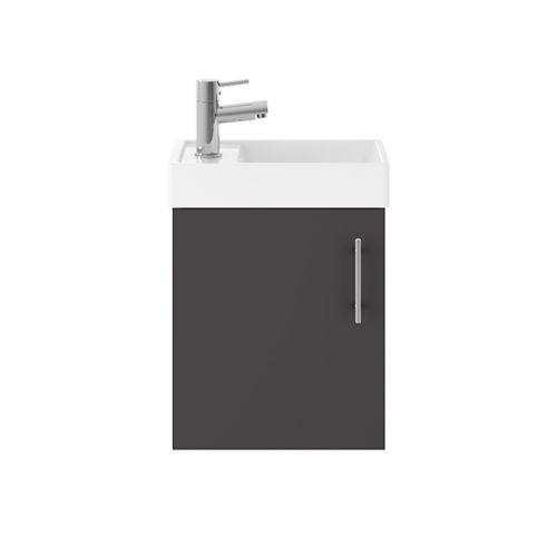 Minuto 400mm Wall Mounted Cloakroom Vanity Unit & Basin - Gloss Grey (19254)