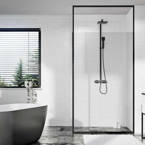 Kiimat Noir Extendable 900mm Wetroom Panel & Black Frame  (18842)