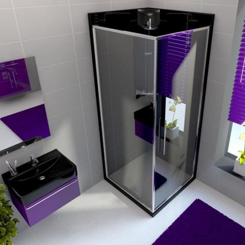 Neptune 900mm Granite Black Square Leak Free Shower Pod (11426B)