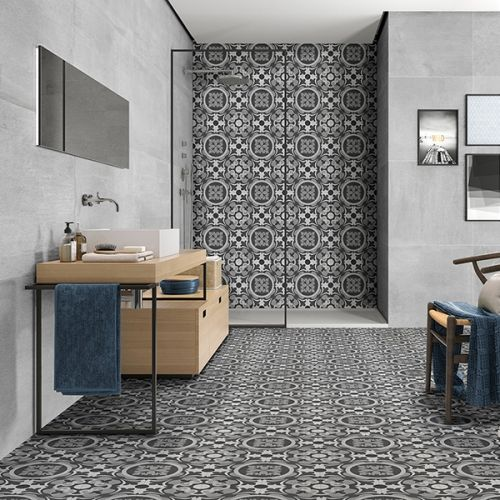 Nouveau Grey Matt Glazed 20 x 20cm Porcelain Wall & Floor Tile - 1sqm perbox (17406)