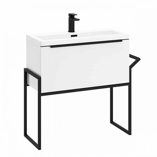 Muro Noir 600mm Floorstanding Vanity Unit & Basin - Gloss White (19090)