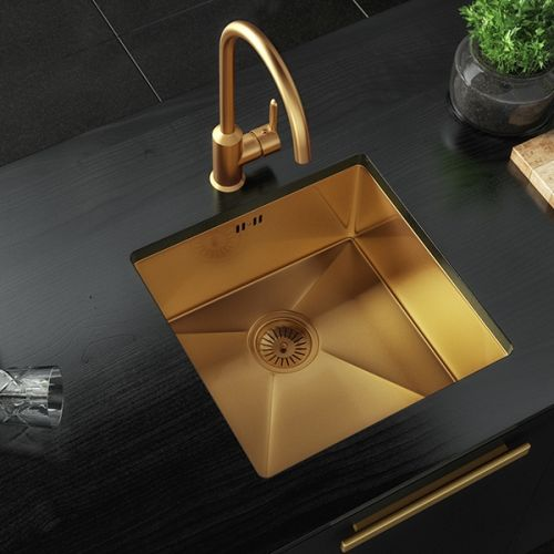 Elite Single Bowl Inset or Undermounted Stainless Steel Kitchen Sink & Waste - Gold Finish (19016)