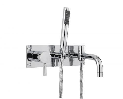 Hudson Reed Tec Single Lever Wall Mounted Bath Shower Mixer (PK350) - 15227