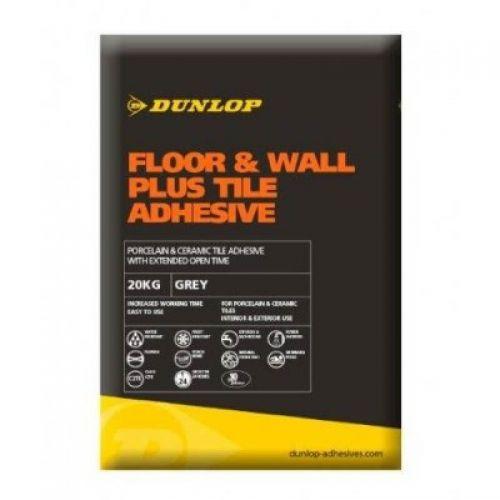 Dunlop Floor & Wall Plus Tile Adhesive Grey 20KG - 12780