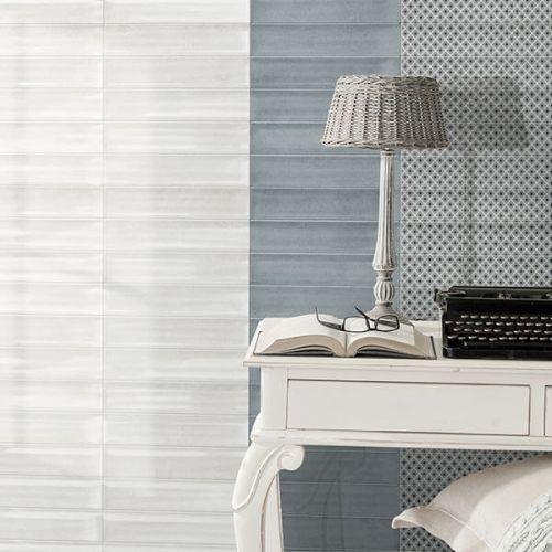 Poema White Decor Gloss Shiny 7.5 x 30cm White Body Wall Tile - 0.99sqm perbox (17419)