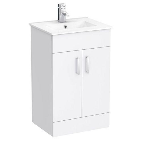 Roma 500mm Vanity Unit & Minimalist Basin - White Gloss (18852)