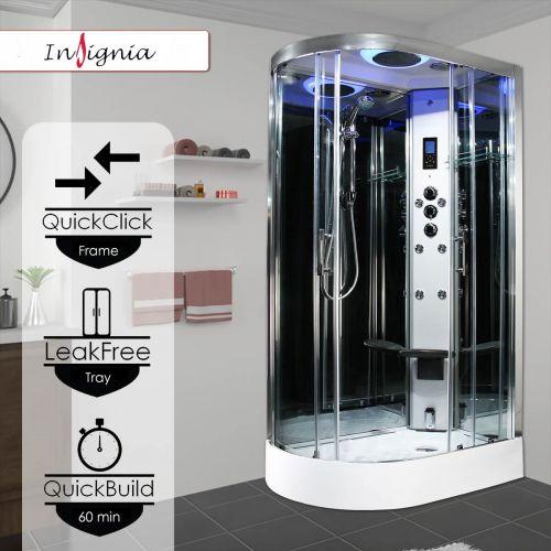Insignia Premium 1100 x 700mm Quadrant Steam Shower Enclosure with Chrome Frame PR11R-OCF-CG-S - Right Hand (14917)