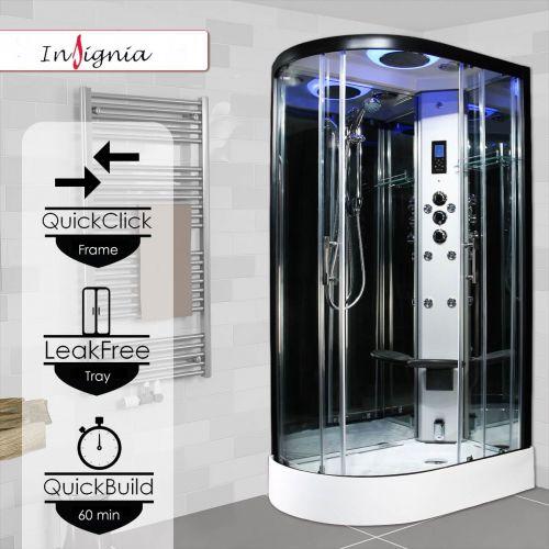 Insignia Premium 1200 x 800mm Quadrant Steam Shower Enclosure with Black Frame PR12R-OBF-CG-S - Right Hand (14919)