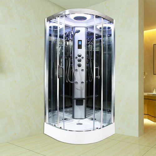 Insignia Premium 900mm Quadrant Steam Shower Enclosure with Chrome Frame/Clear Glass PR9-QCF-CG-S (14349)