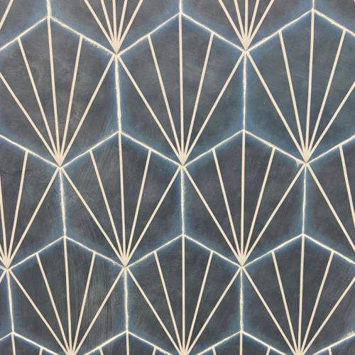Palm Striped Hexagon Décor Blue Marine 15 x 17.5cm Porcelain Tile - 0.25sqm perbox (20657)