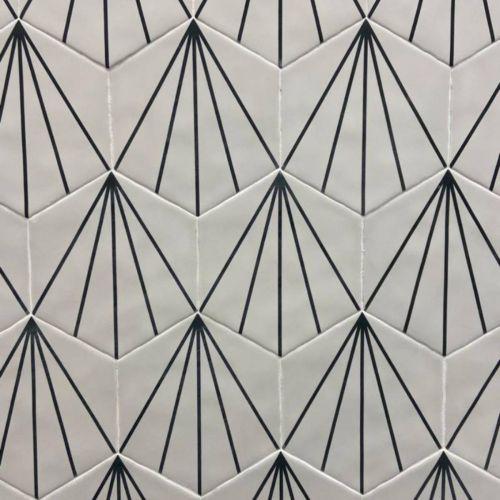 Palm Striped Hexagon Décor White 15 x 17.5cm Porcelain Tile - 0.25sqm perbox (20661)