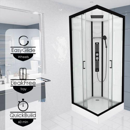 Insignia Monochrome 900mm Square Shower Cabin - MC90SQ  (14350)