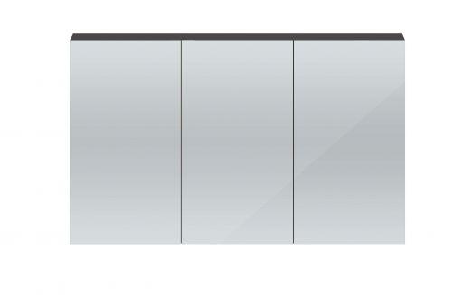 Hudson Reed Quartet 1350mm Mirrored Cabinet - Grey Gloss QUA010 (15708)