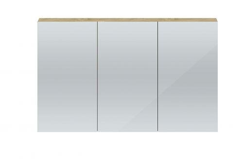 Hudson Reed Quartet 1350mm Mirrored Cabinet  -  Natural Oak QUA012 (15714)