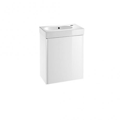 Roca Mini Unik 450mm Wall Mounted Vanity Unit & Basin - Gloss White (19804)