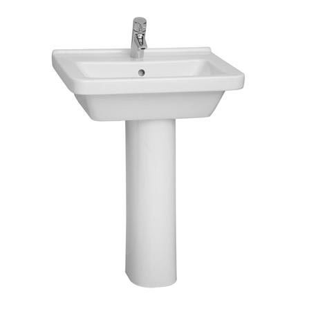 Vitra S50 Square 55cm Cloakroom Basin with Full Pedestal (14743)