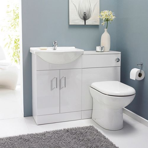 Nuie Saturn Floorstanding Furniture Pack with Round Basin - Gloss White (19106)