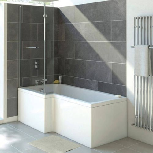 Moods Bathrooms to Love Solarna L-Shape 1500 x 700mm Shower Bath inc. Screen - Left Hand (12242)