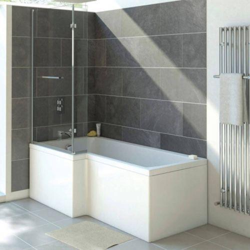 Moods Bathrooms to Love Solarna Supercast L-Shape 1700 x 700mm Shower Bath inc. Screen - Left Hand (12237)