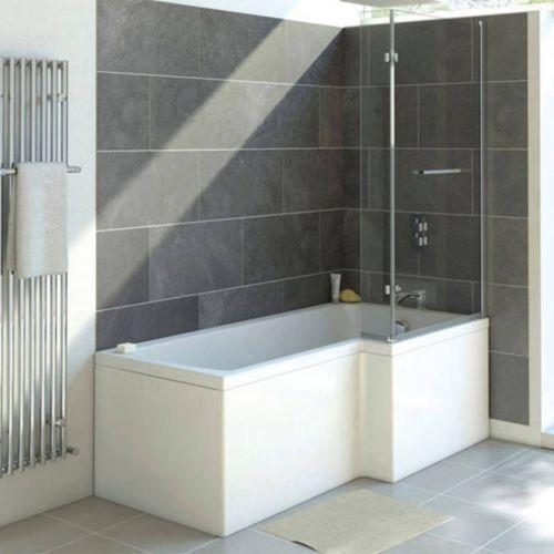 Moods Bathrooms to Love Solarna Supercast L-Shape 1700 x 700mm Shower Bath inc. Screen - Right Hand (8116)