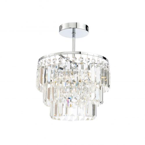 Forum Spa SPA-24678-CHR Belle 3 Light Crystal Semi-Flush Chandelier - Chrome - 15733