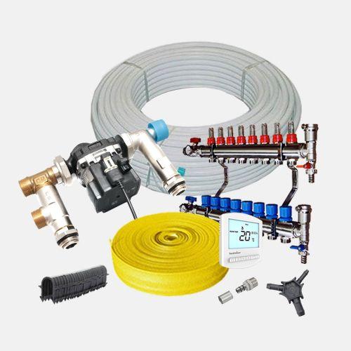 40m² Water Underfloor Heating Kit - 4 Zone System - Low Profile