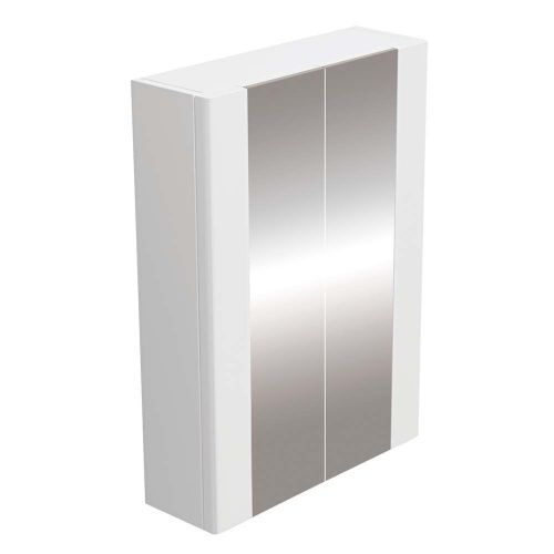 Synergy Newa 600mm Double Door Mirrored Cabinet - White (7826)