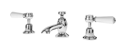 Asquiths Restore 3 Hole Deck Basin Mixer inc. Waste (Lever Handles) - 17550