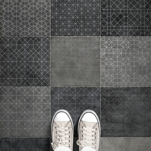Trazos Graphite Matt Glazed 20 x 20cm Porcelain Wall & Floor Tile - 1sqm perbox (17420)
