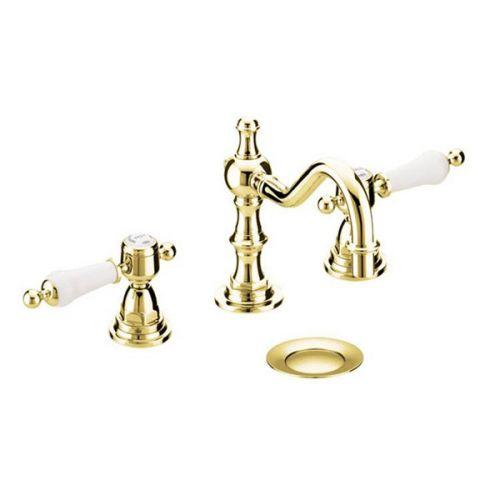 Heritage Glastonbury Gold 3 Hole Swivel Spout Basin Mixer inc Waste - 8595