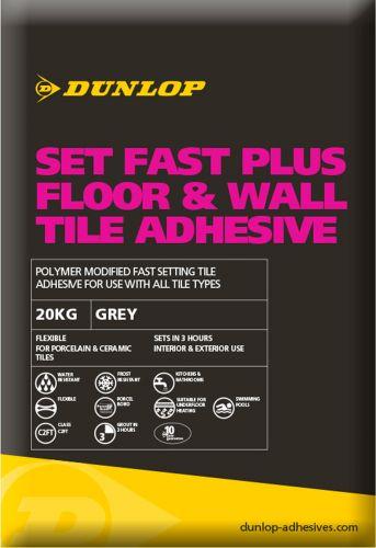 Dunlop Set Fast Plus Flexible Tile Adhesive Grey 20KG - 12778