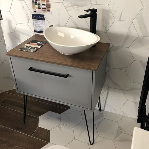 Josef Martin Urbano 750mm Wall Mounted Vanity Unit Painted Lead Colour & Caragh Ash Worktop with Black Hair-Pin Legs and Black Handle - 18457