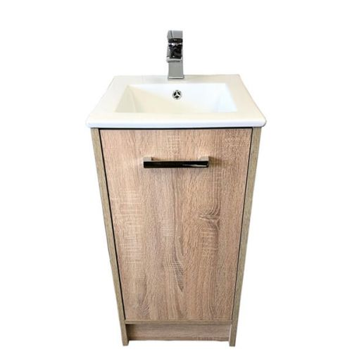 Josef Martin Urbano 400mm 1 Door Floorstanding Vanity Unit & Basin - Cambrian Oak (15419)