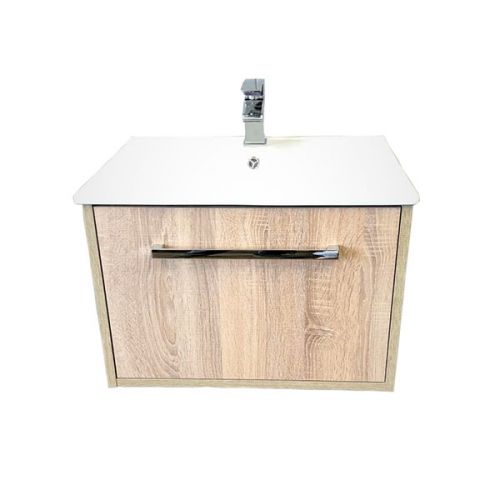 Josef Martin Urbano 600mm Wall Mounted 1 Drawer Vanity Unit & Basin - Cambrian Oak (16688)