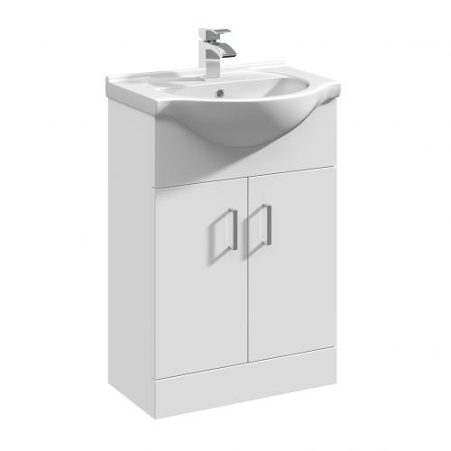 Verona 550mm Floorstanding Vanity Unit & Basin - Gloss White (14300)