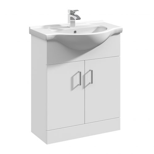 Verona 650mm Floorstanding Vanity Unit & Basin - Gloss White (14301)