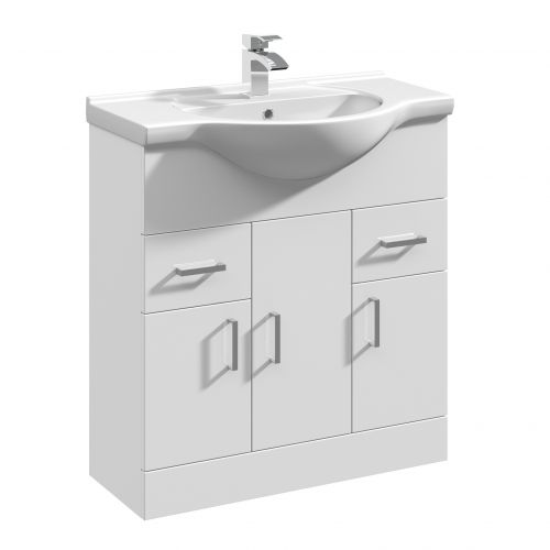 Verona 750mm Floorstanding Vanity Unit & Basin - Gloss White (14302)