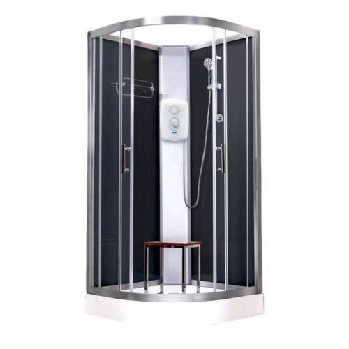 Vidalux Pure Electric 900mm Shower Cabin Black - Standard 9.5KW (20288)