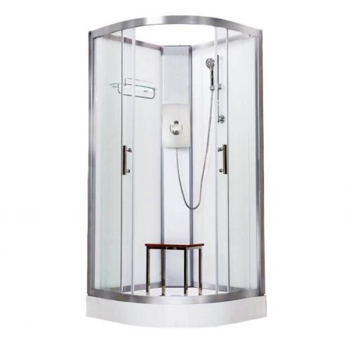Vidalux Pure Electric 800mm Shower Cabin White - Gun Metal 8.5KW (20277)